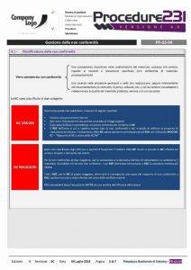 Procedure Gestionali D.Lgs. 231/01 - Gestione delle non conformità
