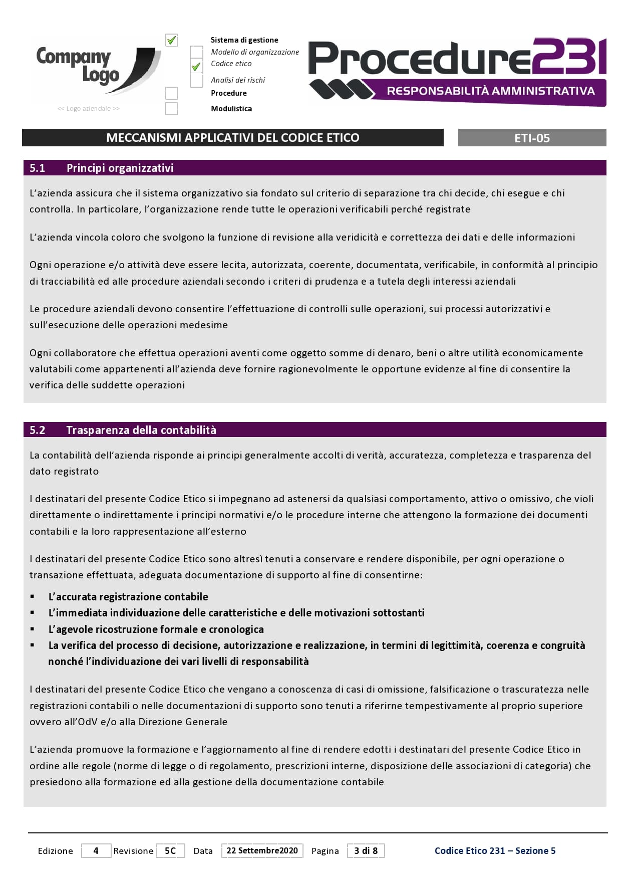 Procedure 231 - Meccanismi-Applicazione