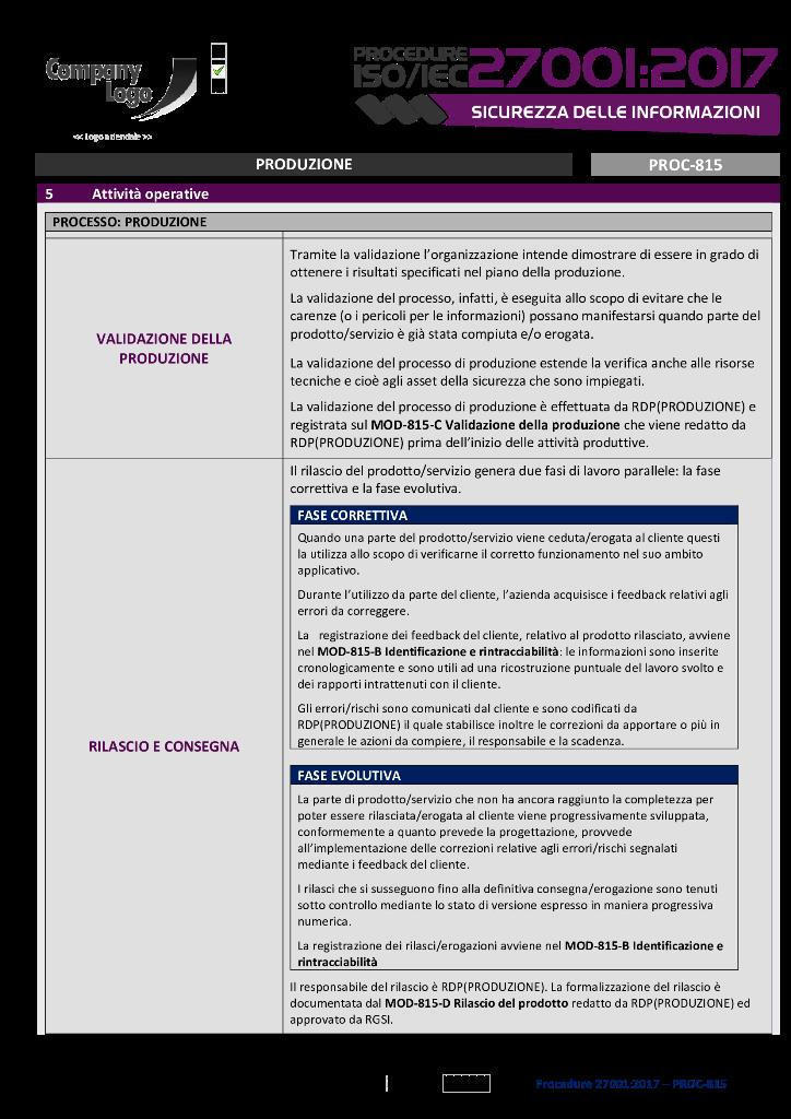 Produzione | Attività di validazione, rilascio e consegna